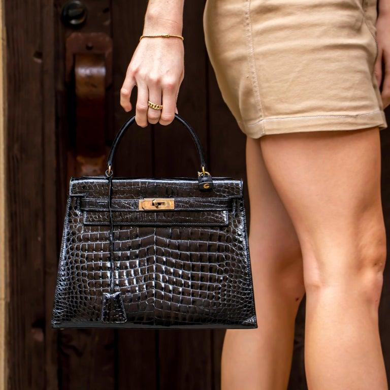 Hermes Black Crocodile Kelly Handbag For Sale 4