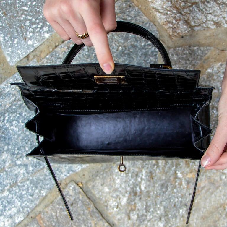 Hermes Black Crocodile Kelly Handbag For Sale 5