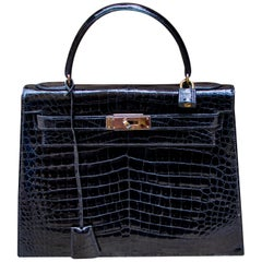 Hermes Black Crocodile Kelly Handbag