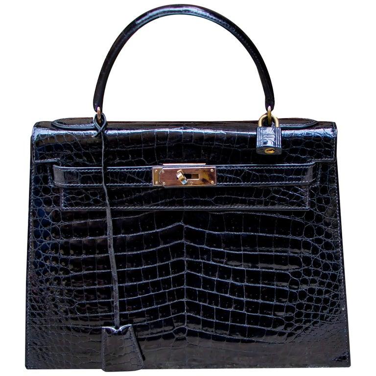 Hermes Black Crocodile Kelly Handbag For Sale