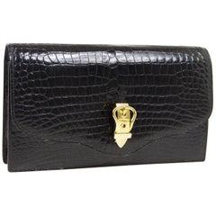 Hermes Black Crocodile Leather Gold Buckle Evening Envelope Clutch Flap Bag