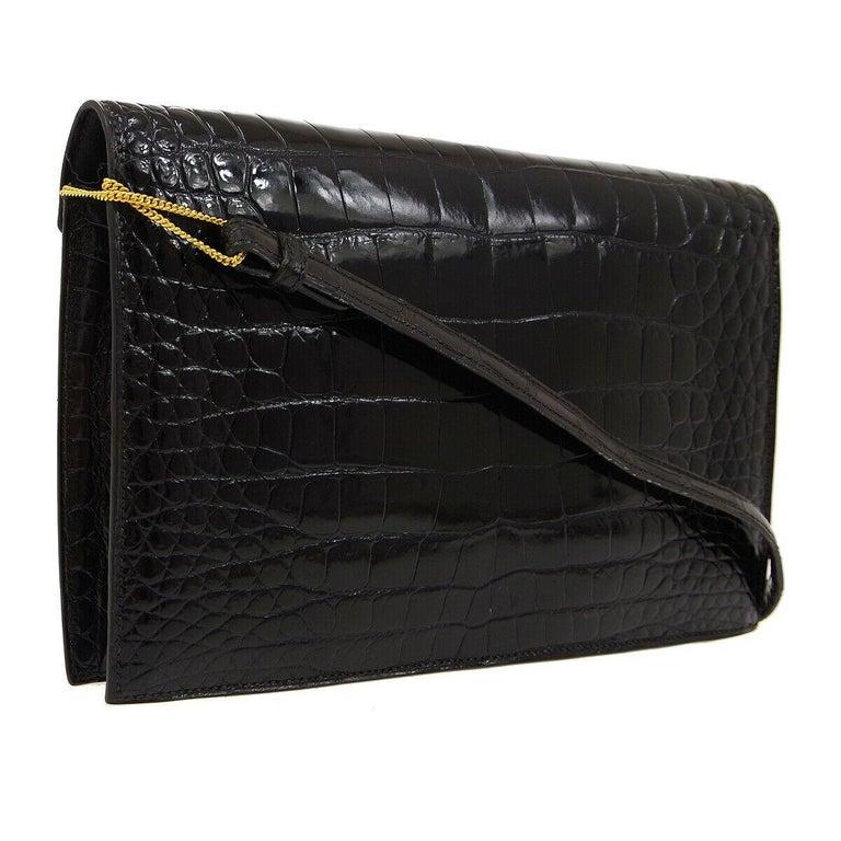 Hermes Black Crocodile Exotic Leather Gold 'H