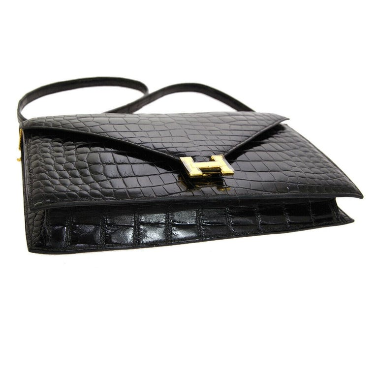 Hermes Black Crocodile Leather Gold 'H