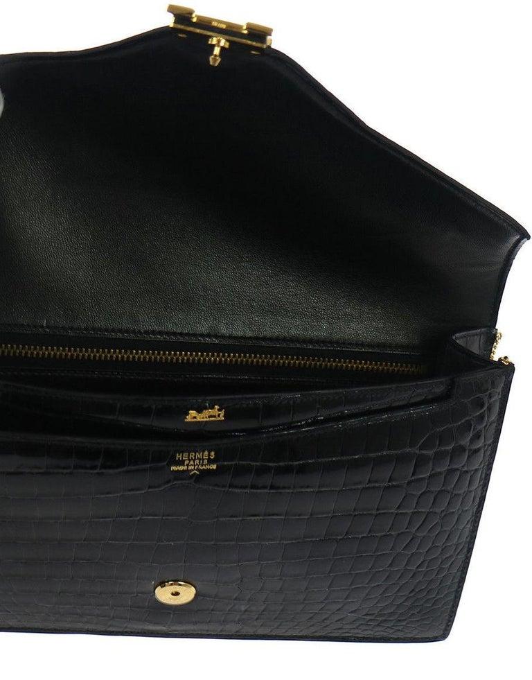 Women's Hermes Black Crocodile Leather Gold 'H