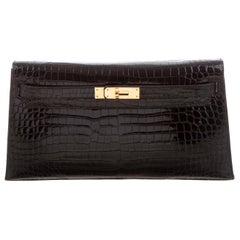 Hermes Black Crocodile Leather Gold Top Handle Satchel Evening Clutch Flap Bag