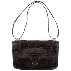 Hermes Black Crocodile Leather Gold Top Handle Satchel Shoulder Flap Bag