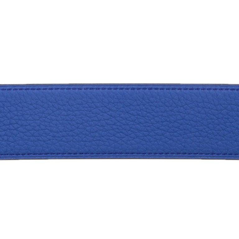 Black HERMES black & Electric blue Reversible Belt Strap 95