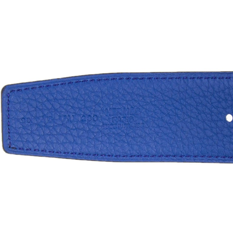 HERMES black & Electric blue Reversible Belt Strap 95 In New Condition In Zürich, CH