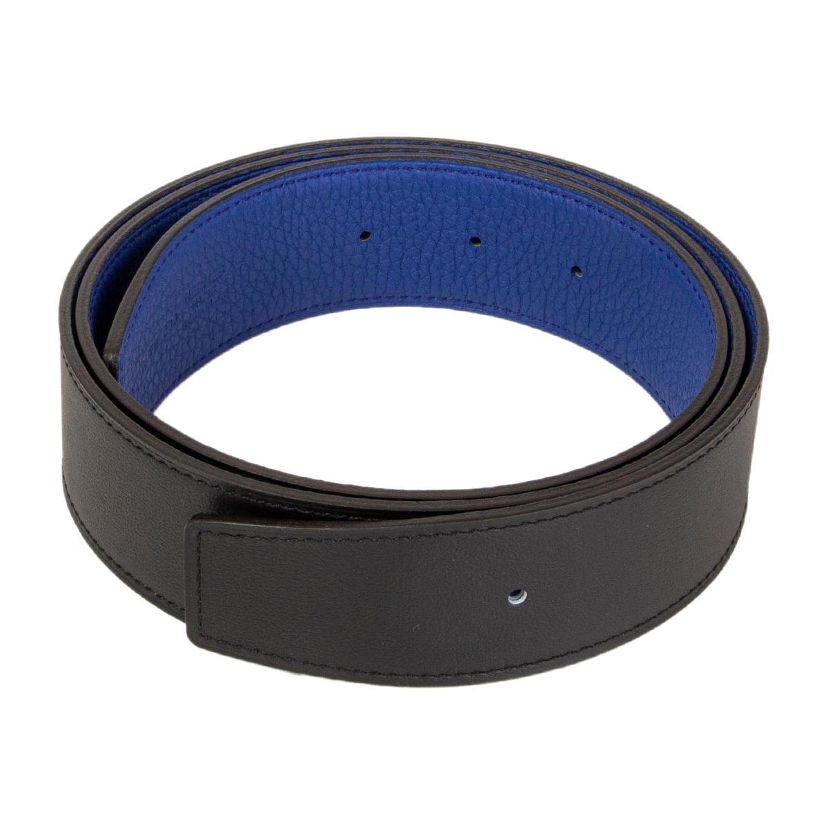 HERMES black & Electric blue Reversible Belt Strap 95