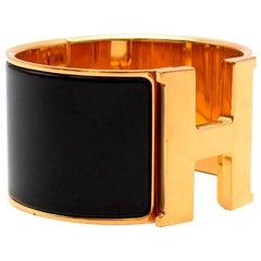 Hermes Black Enamel Extra Wide Clic Clac Bracelet GHW