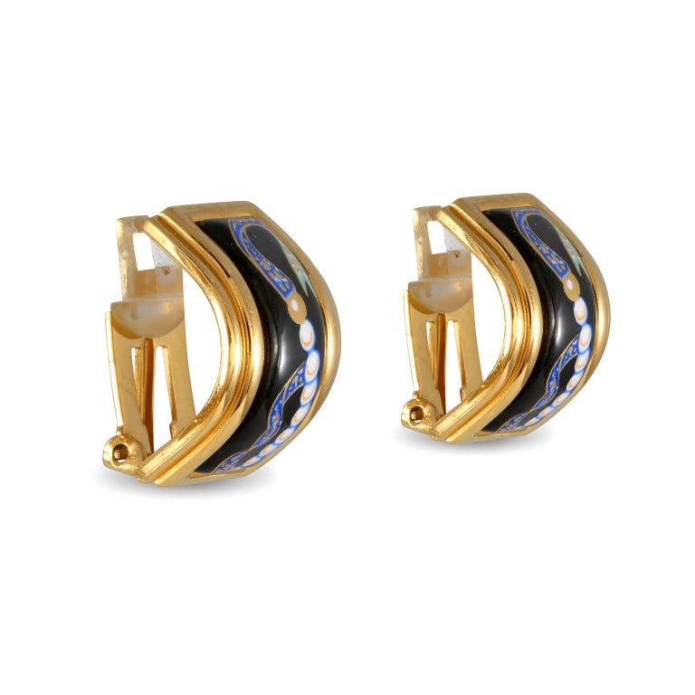 Hermès Black Enamel Vintage Earrings In Good Condition For Sale In Palm Beach, FL