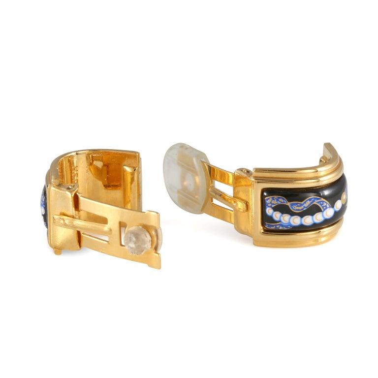 Hermès Black Enamel Vintage Earrings For Sale 1