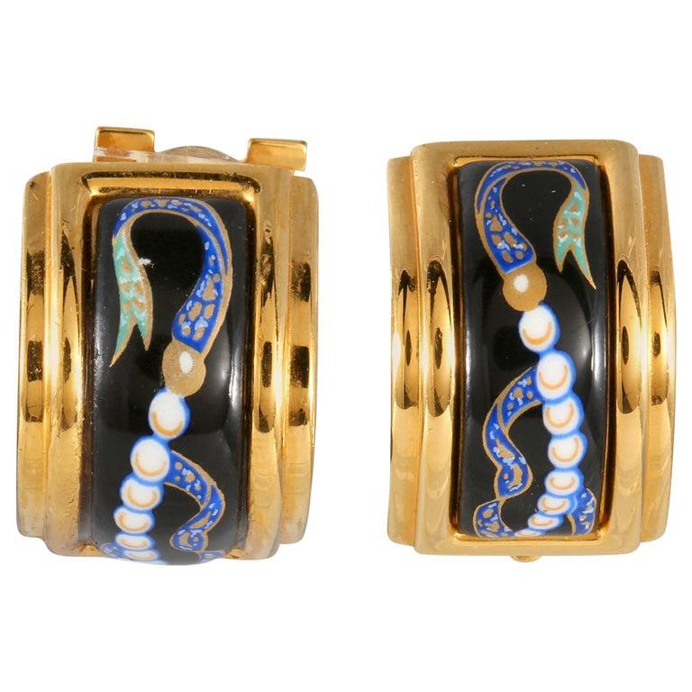 Hermès Black Enamel Vintage Earrings For Sale