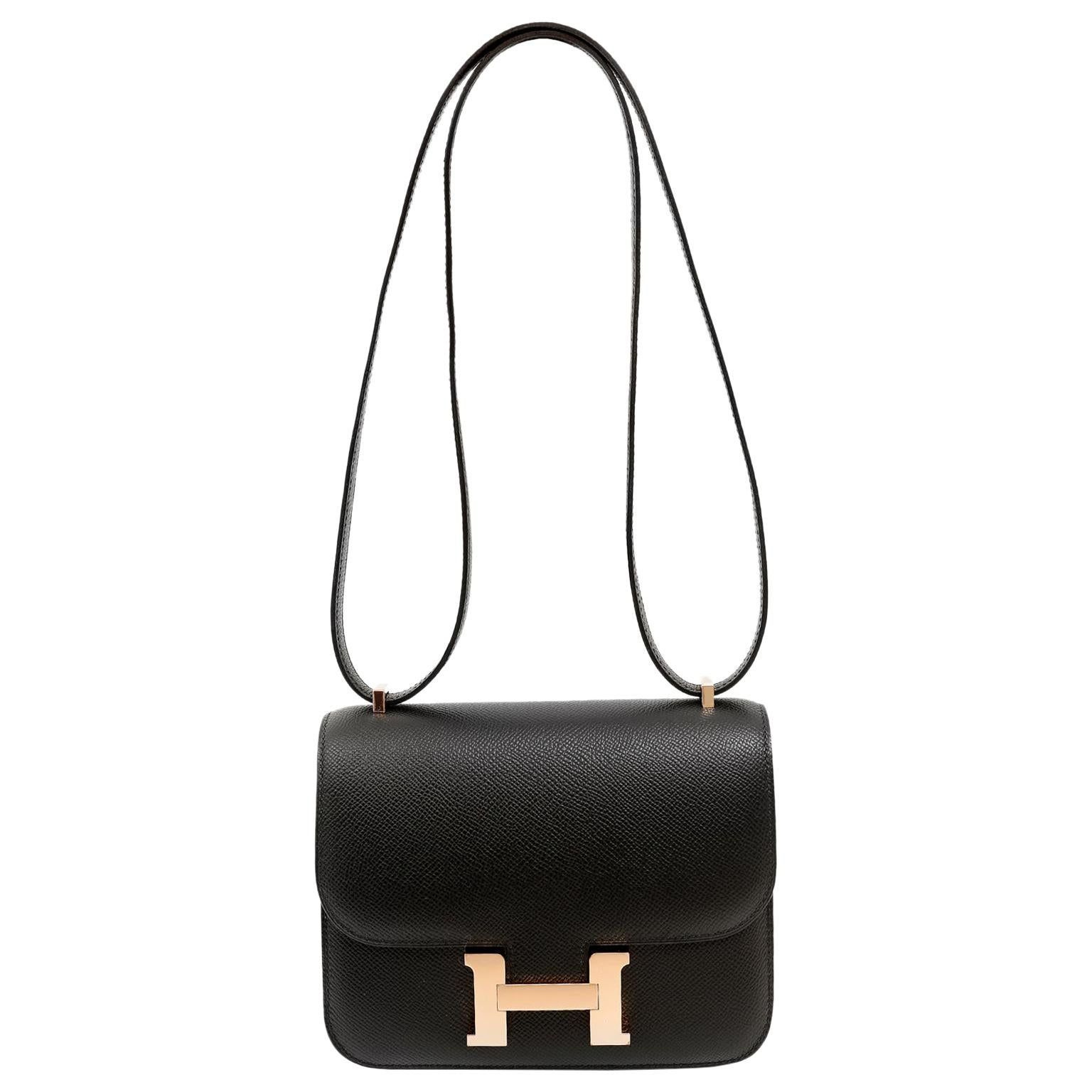Hermès Black Epsom 18 cm Constance with Rose Gold Hardware