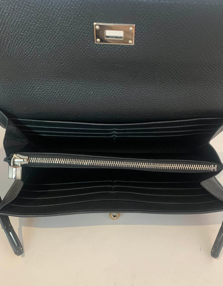 Hermes Black Epsom Kelly Longue Wallet w/ Palladium Hardware rt. $3,375 For Sale 7
