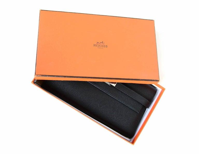 Hermes Black Epsom Kelly Longue Wallet w/ Palladium Hardware rt. $3,375 For Sale 8
