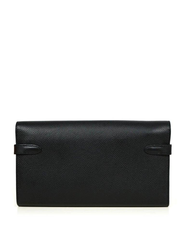 Women's Hermes Black Epsom Kelly Longue Wallet w/ Palladium Hardware rt. $3,375 For Sale