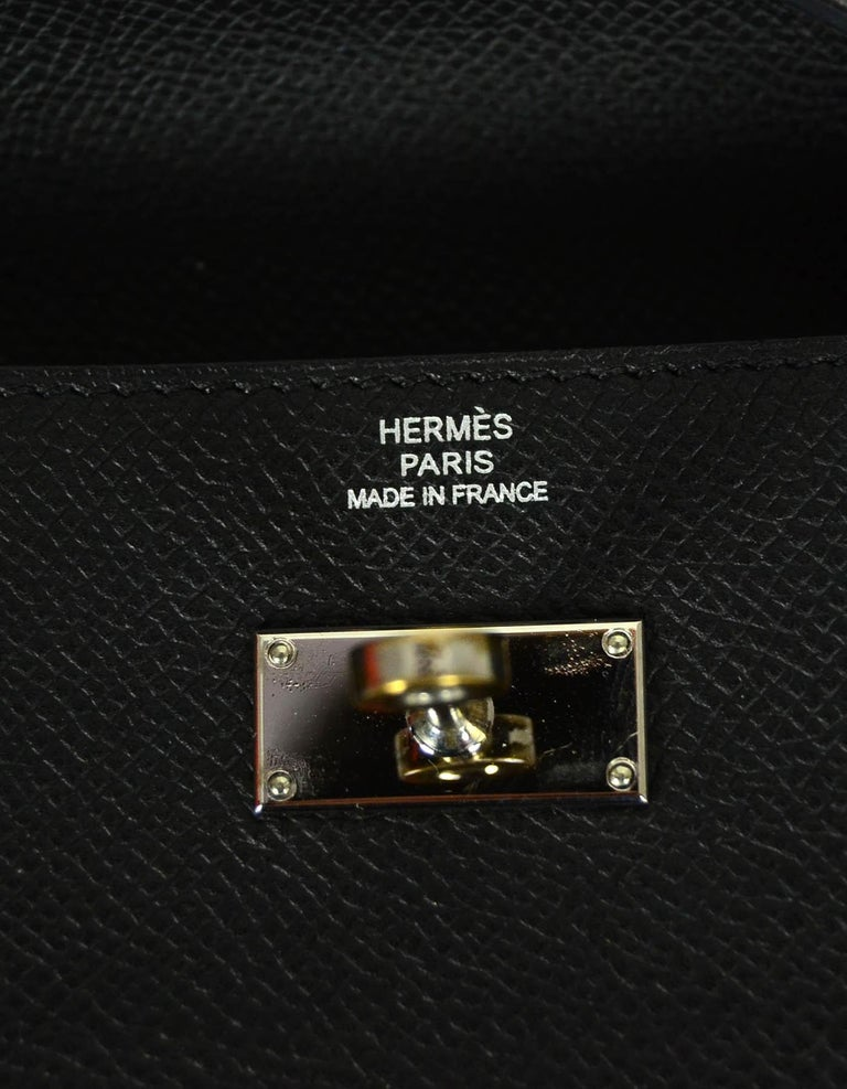 Hermes Black Epsom Kelly Longue Wallet w/ Palladium Hardware rt. $3,375 For Sale 5