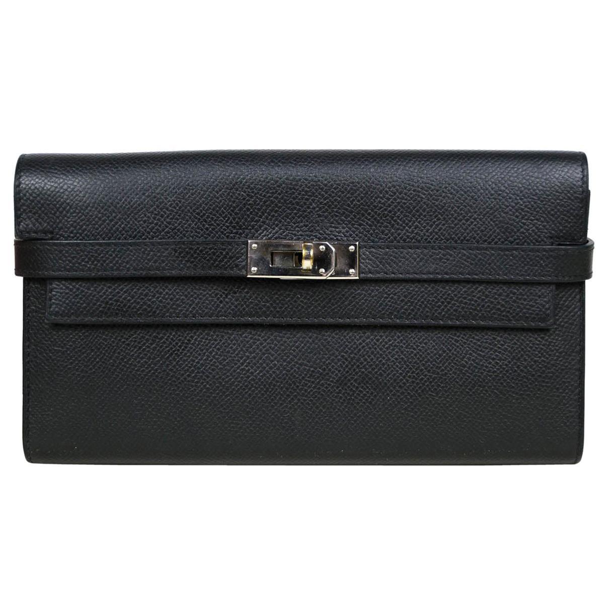 Hermes Black Epsom Kelly Longue Wallet w/ Palladium Hardware rt. $3,375