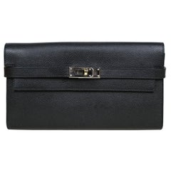 Hermes Black Epsom Kelly Longue Wallet w/ Palladium Hardware rt. $3,375