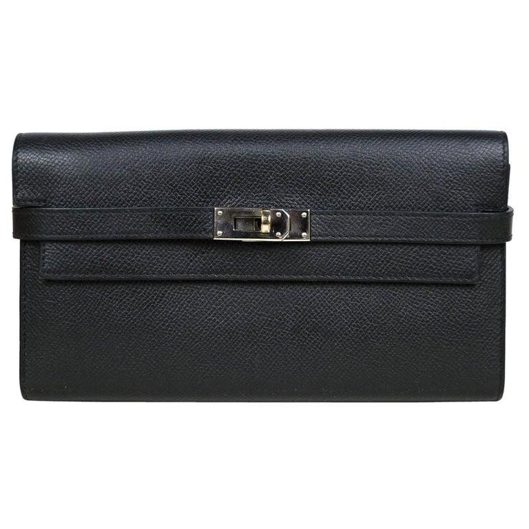 Hermes Black Epsom Kelly Longue Wallet w/ Palladium Hardware rt. $3,375 For Sale