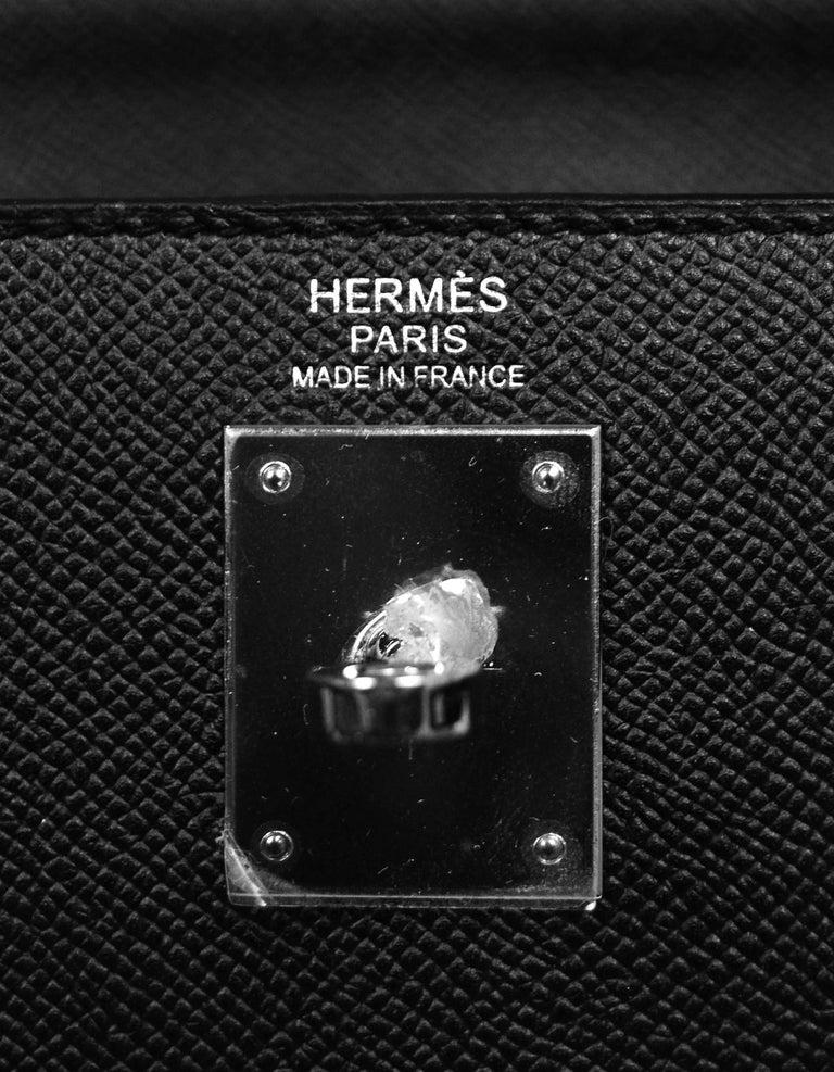 Hermes Black Epsom Leather 32cm Sellier Kelly Bag w/ Palladium Hardware For Sale 6