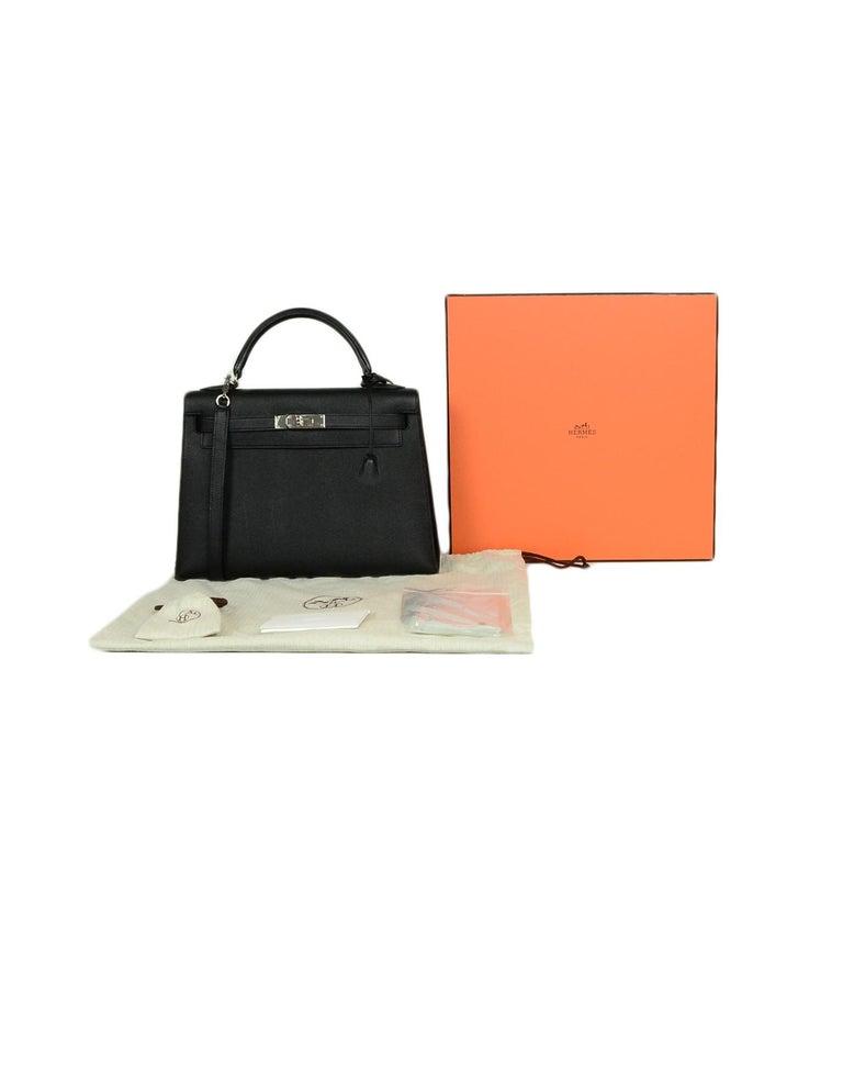 Hermes Black Epsom Leather 32cm Sellier Kelly Bag w/ Palladium Hardware For Sale 9