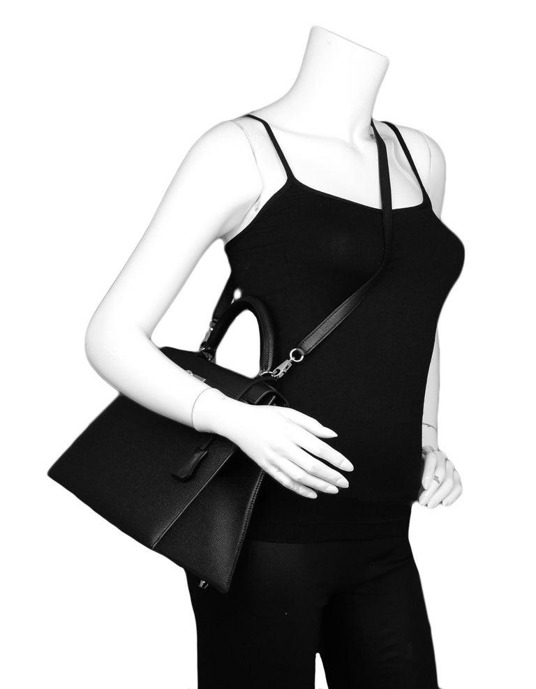 Women's Hermes Black Epsom Leather 32cm Sellier Kelly Bag w/ Palladium Hardware For Sale