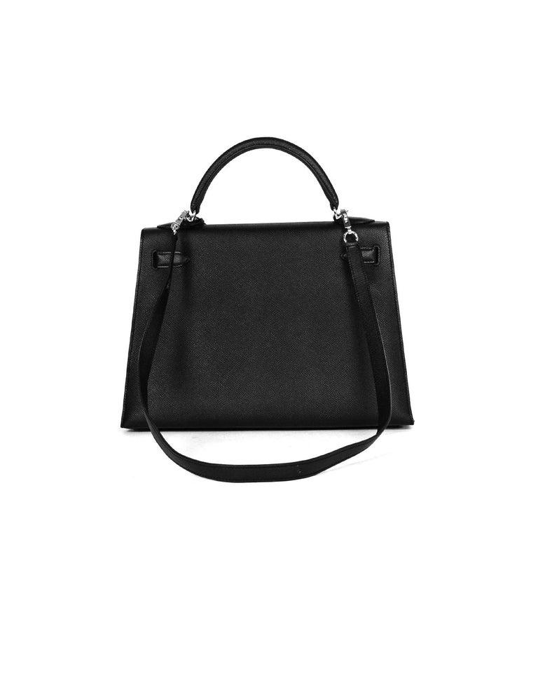Hermes Black Epsom Leather 32cm Sellier Kelly Bag w/ Palladium Hardware For Sale 1