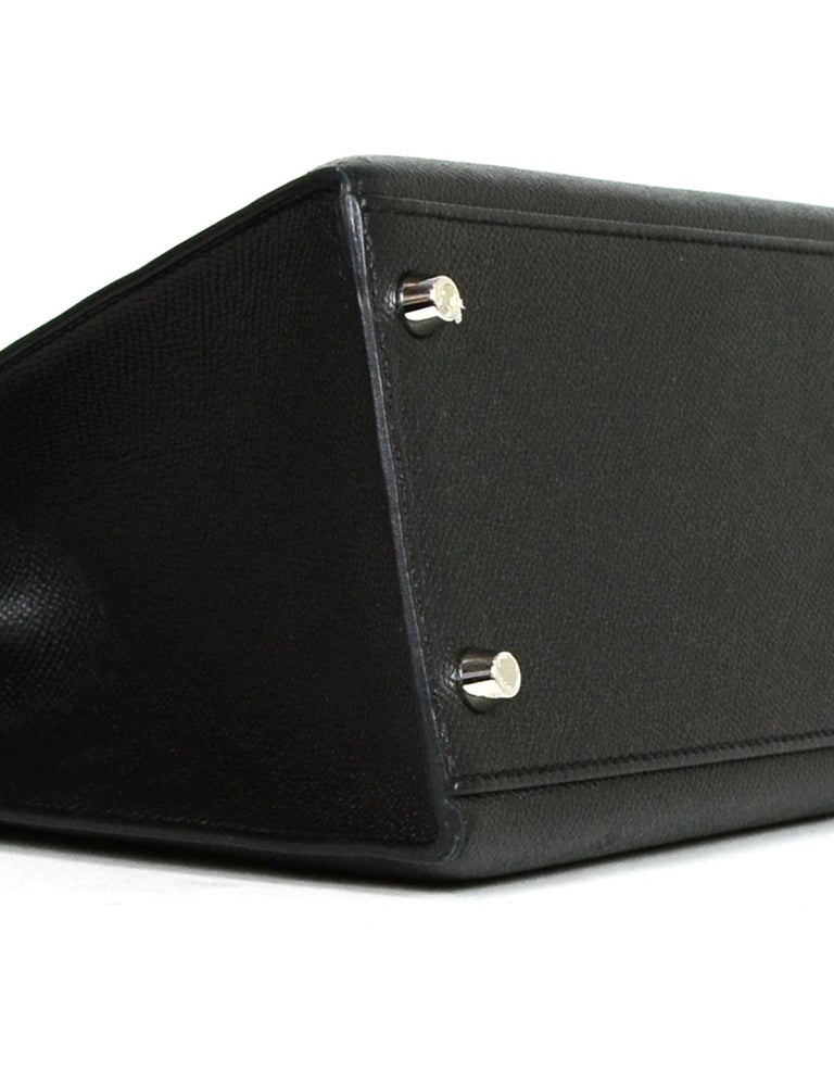 Hermes Black Epsom Leather 32cm Sellier Kelly Bag w/ Palladium Hardware For Sale 2