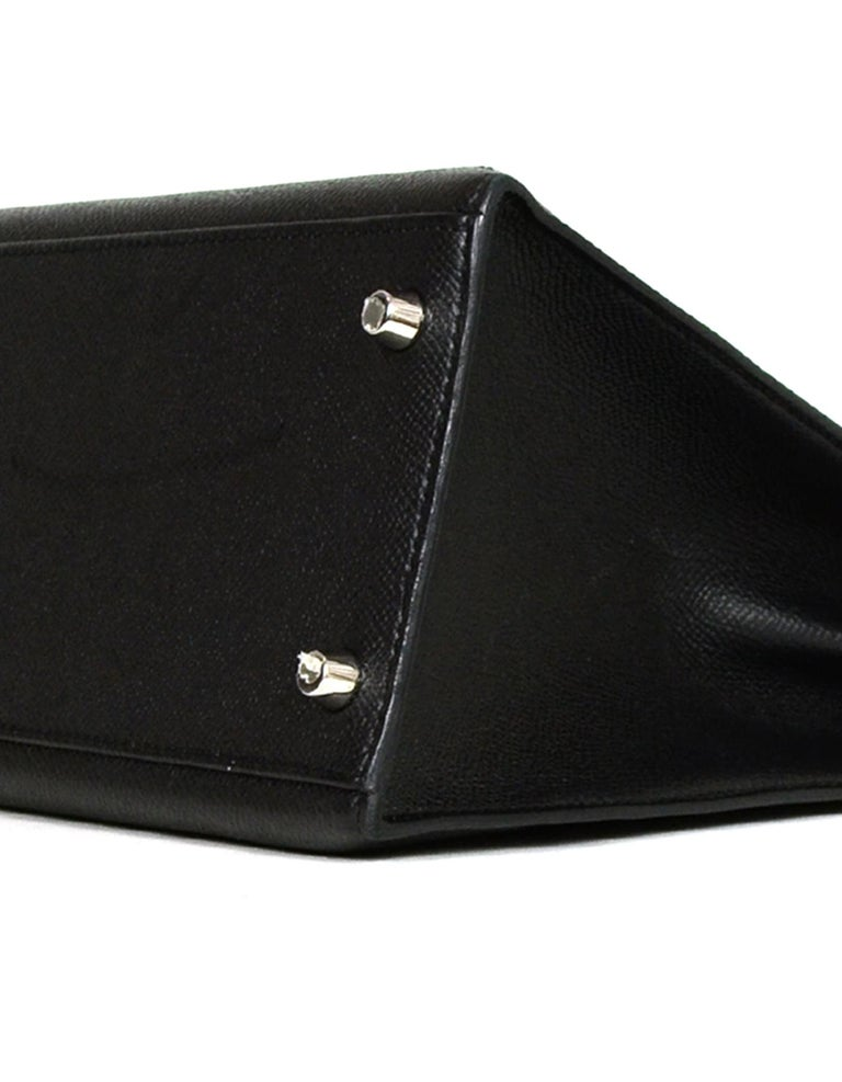 Hermes Black Epsom Leather 32cm Sellier Kelly Bag w/ Palladium Hardware For Sale 3