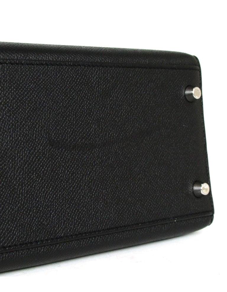 Hermes Black Epsom Leather 32cm Sellier Kelly Bag w/ Palladium Hardware For Sale 4