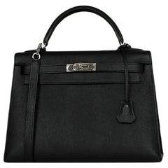 Hermes Black Epsom Leather 32cm Sellier Kelly Bag w/ Palladium Hardware