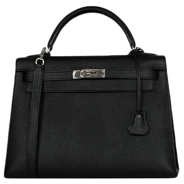 Hermes Black Epsom Leather 32cm Sellier Kelly Bag w/ Palladium Hardware For Sale