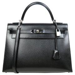 Hermes Black Epsom Leather 32cm Sellier Kelly Bag with Palladium Hardware