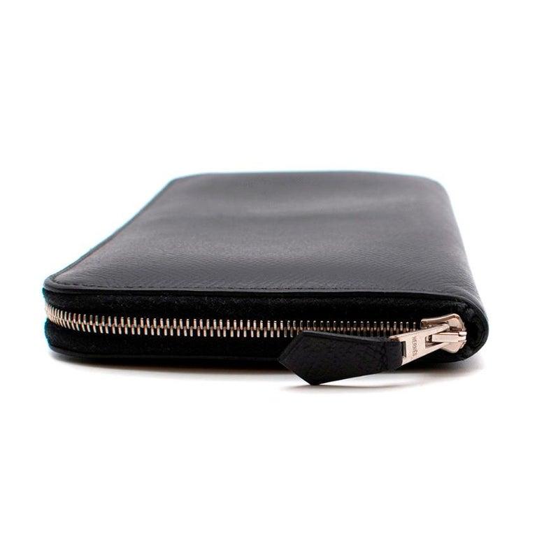 Women's Hermes Black Epsom Leather Azap Classic Wallet PHW For Sale