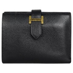 Hermes Black Epsom Leather Compact Bearn Wallet
