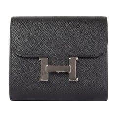 HERMES black Epsom leather CONSTANCE COMPACT Wallet