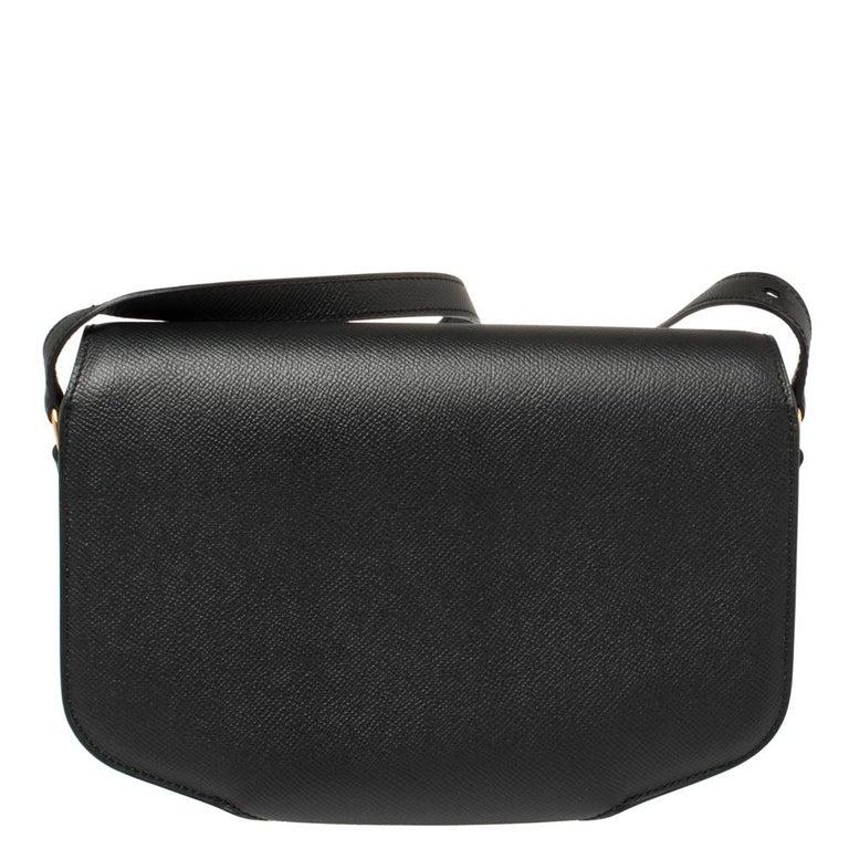 Women's Hermes Black Epsom Leather Gold Hardware Cherche Midi 25 Bag