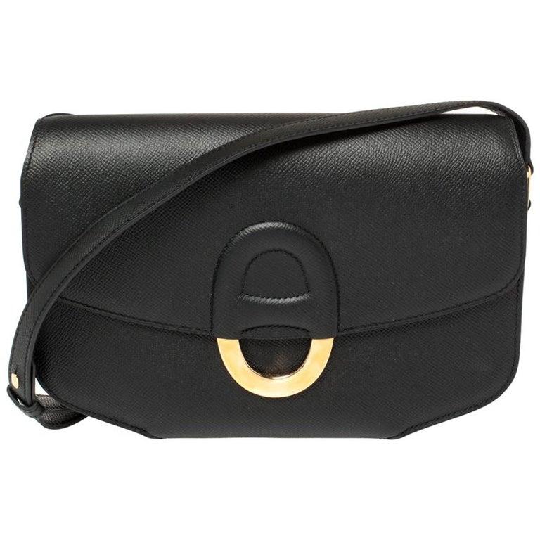 Hermes Black Epsom Leather Gold Hardware Cherche Midi 25 Bag