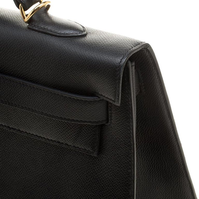 Hermes Black Epsom Leather Gold Hardware Kelly Sellier 40 Bag For Sale 7