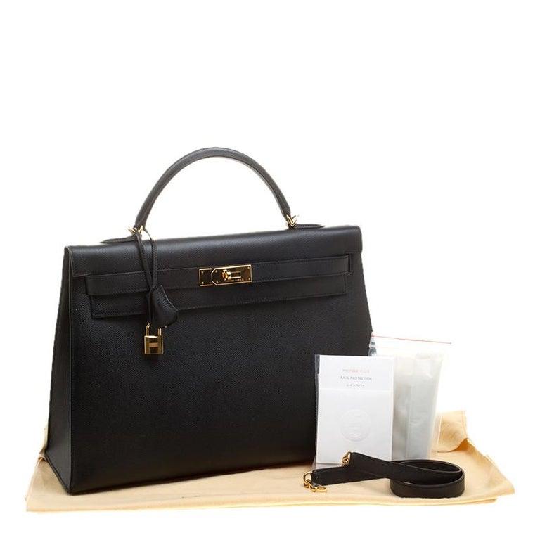 Hermes Black Epsom Leather Gold Hardware Kelly Sellier 40 Bag For Sale 8