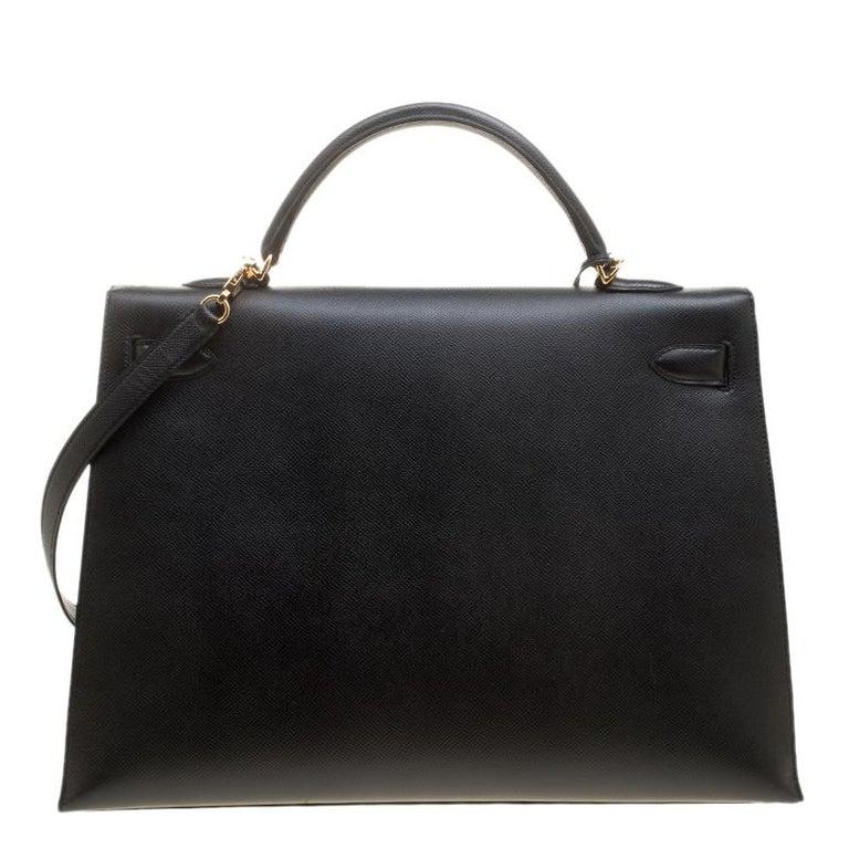 Hermes Black Epsom Leather Gold Hardware Kelly Sellier 40 Bag In Good Condition For Sale In Dubai, Al Qouz 2