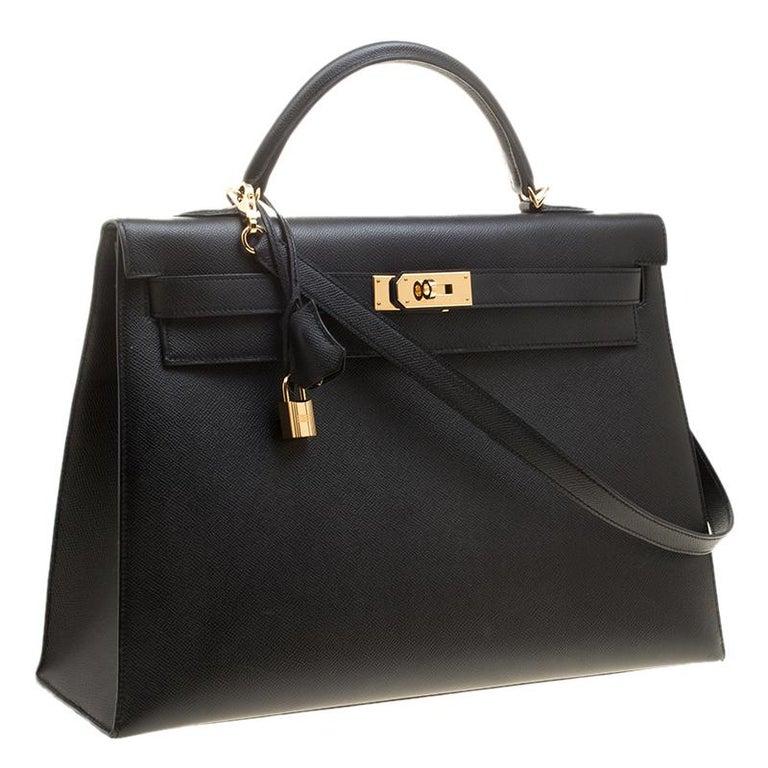 Women's Hermes Black Epsom Leather Gold Hardware Kelly Sellier 40 Bag For Sale