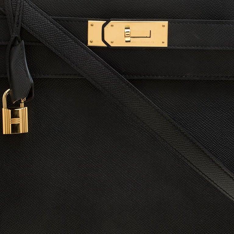 Hermes Black Epsom Leather Gold Hardware Kelly Sellier 40 Bag For Sale 1