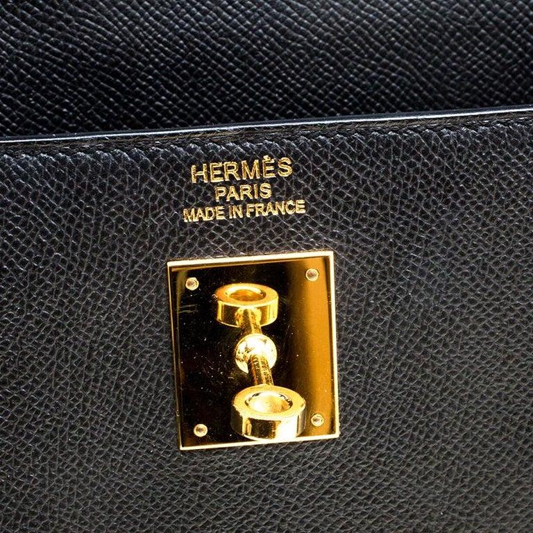Hermes Black Epsom Leather Gold Hardware Kelly Sellier 40 Bag For Sale 4