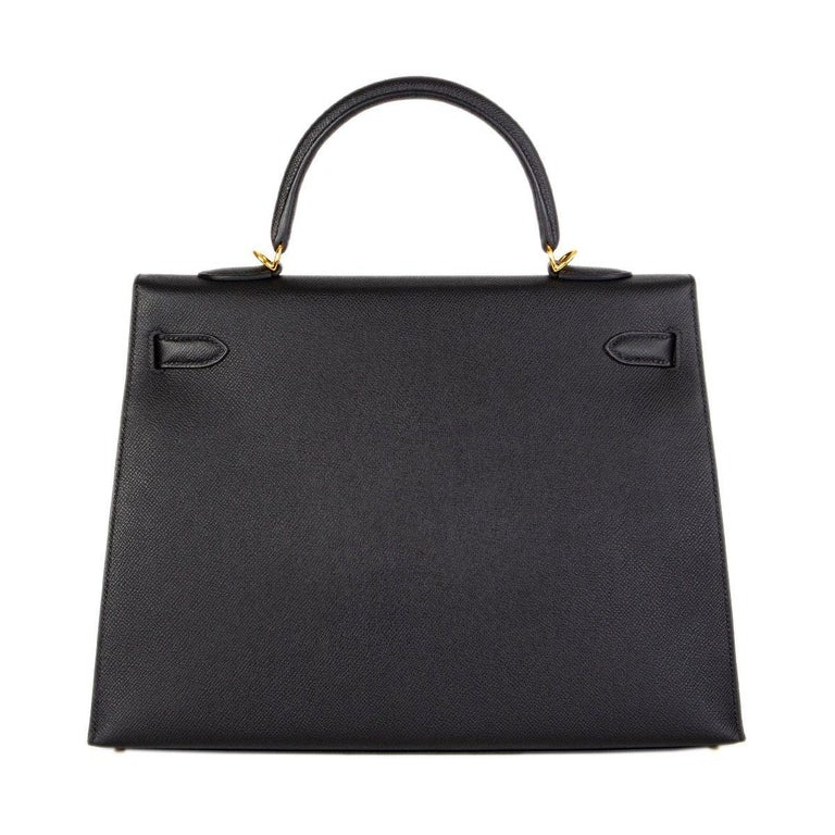 HERMES Black Epsom leather & Gold KELLY II 35 SELLIER Bag In Excellent Condition For Sale In Zürich, CH