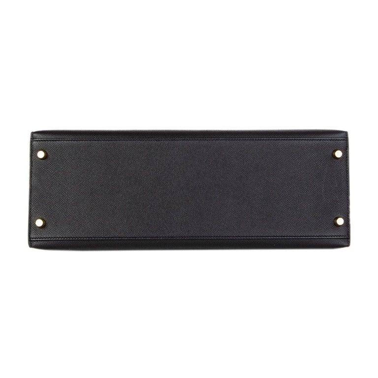 Women's HERMES Black Epsom leather & Gold KELLY II 35 SELLIER Bag For Sale
