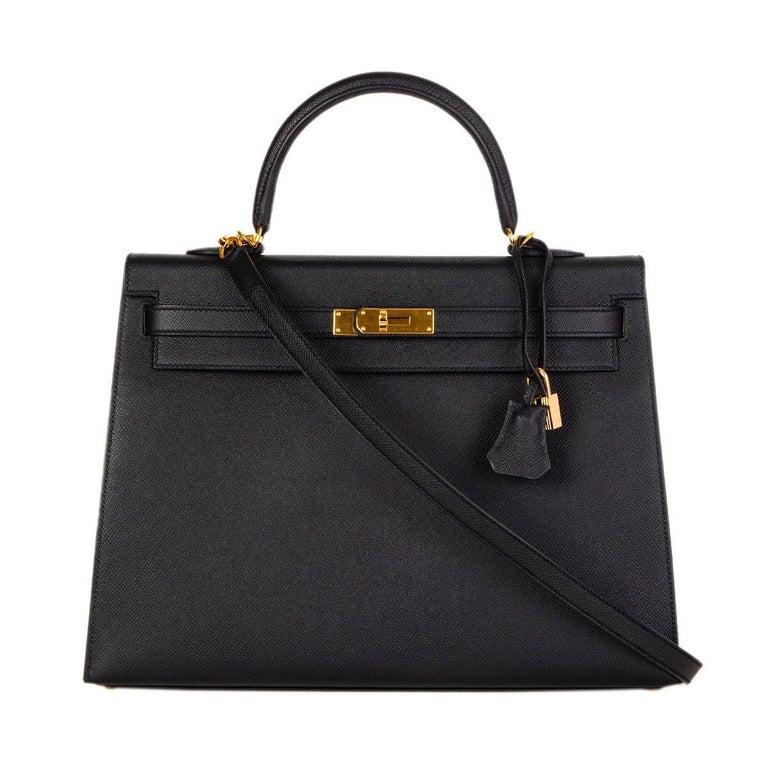 HERMES Black Epsom leather & Gold KELLY II 35 SELLIER Bag For Sale 1