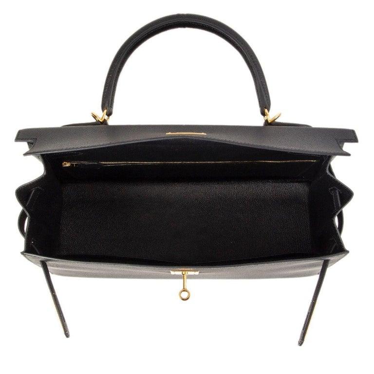 HERMES Black Epsom leather & Gold KELLY II 35 SELLIER Bag For Sale 2